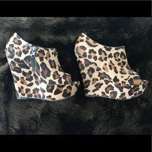 Steve Madden WICKED-L Leopard Wedge Booties